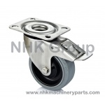 Hygienic swivel caster with total lock in stainless steel with elastic tire (Grey rubber) plate mounting