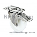 Stainless swivel caster with total lock and nylon wheel (white) plate mounting