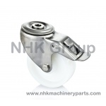 Hygienic caster with total lock in stainless steel with nylon wheel (white) Single bolt hole mounting