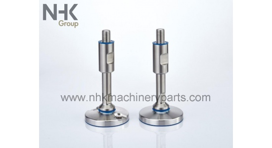 Stainless feet in hygienic design SHSF EHEDG with floor lock holes
