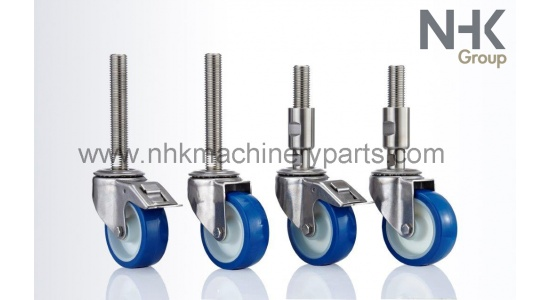 Hygienic leveling caster in stainless steel with polyurethane tire (PU) spindle mounting