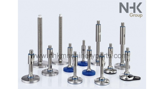 Hygienic stainless leveling feet EHEDG with floor lock holes
