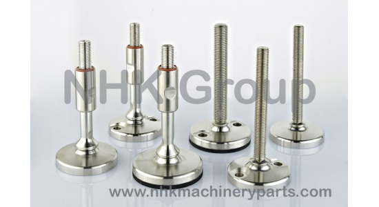 Stainless steel articulated feet in with rubber base