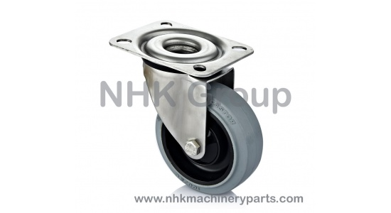 Hygienic swivel caster in stainless steel with elastic tire (Grey rubber) plate mounting