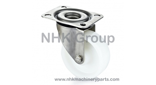 Stainless swivel caster with nylon wheel (white) plate mounting