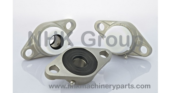 2 hole oval flange unit SFL in stainless steel with plastic cover
