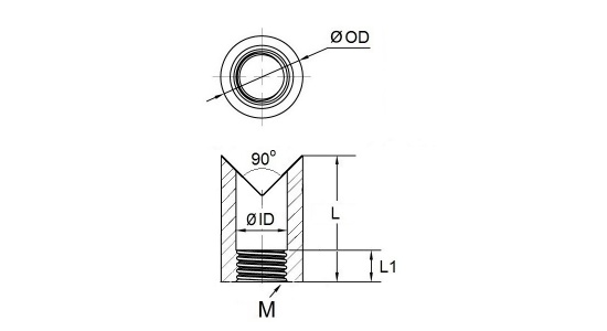 Corner weld threaded nut in stainless steel drawing