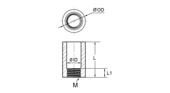 Stainless spacer nut drawing