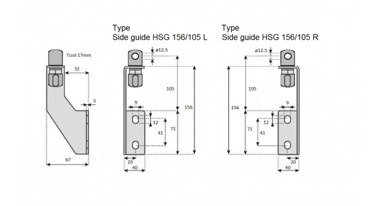 Side guide HSG 156 105 bracket in Stainless steel drawing