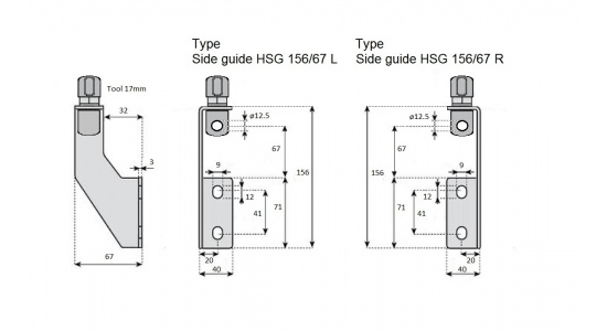 Side guide HSG 156 67 bracket in Stainless steel drawing