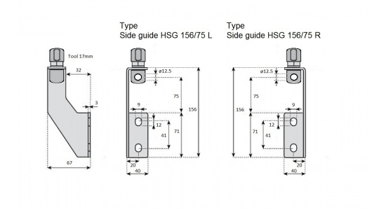 Side guide HSG 156 75 bracket in Stainless steel drawing