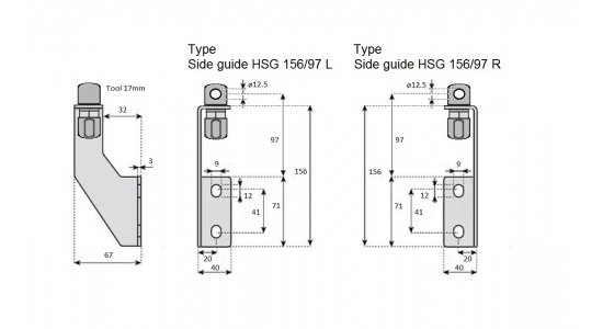 Side guide HSG 156 97 bracket in Stainless steel drawing