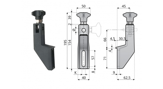 Side guide PSG 154 bracket in reinforced polyamide drawing