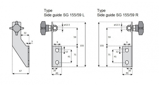 Side guide SG 155 bracket in Stainless steel drawing