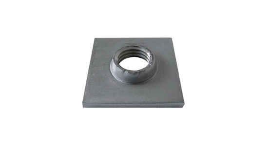 Threaded stainless steel plate for square tube (Aisi 1.4301)